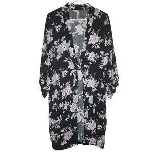 SPIRITUAL GANGSTER / Dark Floral Kimono w/ Pockets